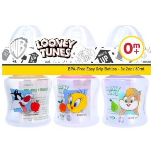 Looney Tunes 2 Ounce Easy Grip Feeding Bottle Set of 3